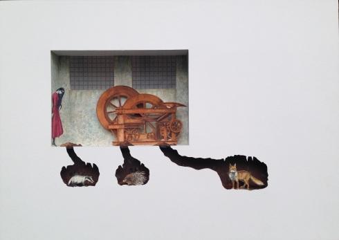 Bilocale 2 (Chernobyl's animals) 2015, acquerello e acrilico si carta, cm 50x70