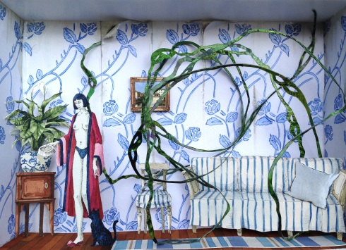 Monolocale 11, (Odor di Basilico) anno 2014, tecnica mista, cm 21x30