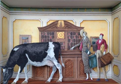 Monolocale 16 (…quella mucca), anno 2015, tecnica mista, cm 21x30