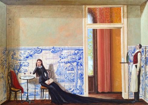 Monolocale 17. (tinto), 2015, acrilico e olio su tela , cm 21x30