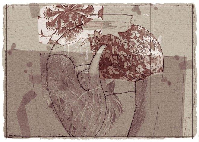 Lu Zhiping, Peace All Year, 2009, silkscrren print, 14x21 cm.