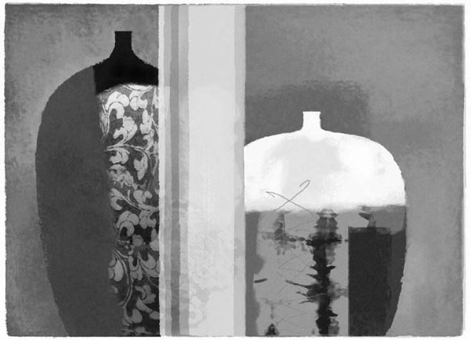 Lu Zhiping, China Neighbor 2008, silkscrren print, 67x92 cm.
