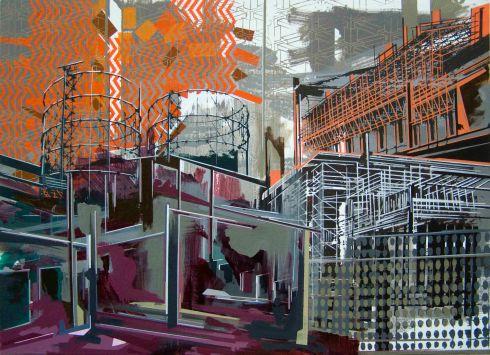 Il paesaggio del passato nel presente e nel futuro, acrilico su tela, 69x95 cm, 2013
