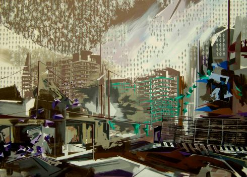 Piovono s t r n z, acrilico su tela, 145x195 cm, 2014
