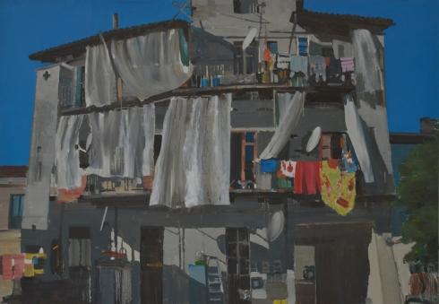 Daniele Galliano, Via Gluck 2014 olio su tela 125x180 cm