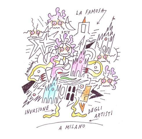 Alessandro Mendini, La famosa invasione degli artisti a Milano, disegno su carta, 2015