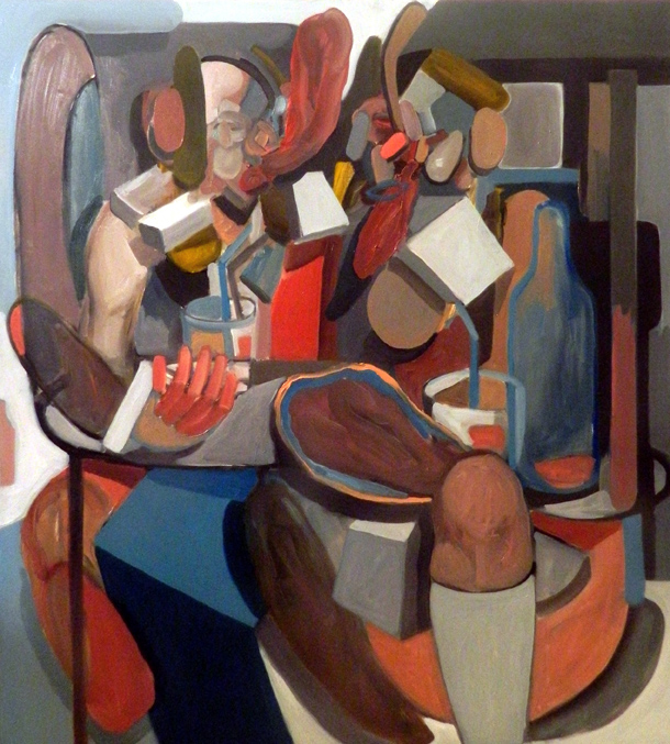 Giuliano Sale, 2015, Salt Peanuts. Discorsi importanti al Capolinea, oil on canvas, 100x90 cm