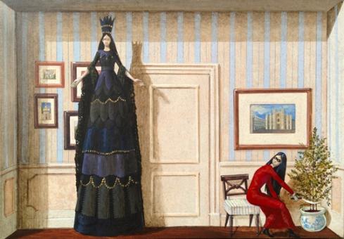 Vanni Cuoghi, Monolocale 15 (La Sposa Nera), 2015, acrilico e olio su tela, 21x30 cm