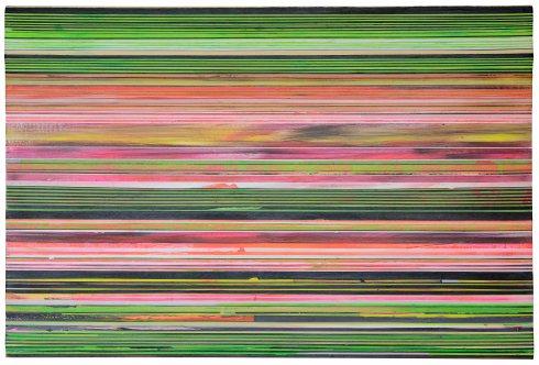 Black Green, 2015, acrilico su nastro carta su tela 150x100 cm.
