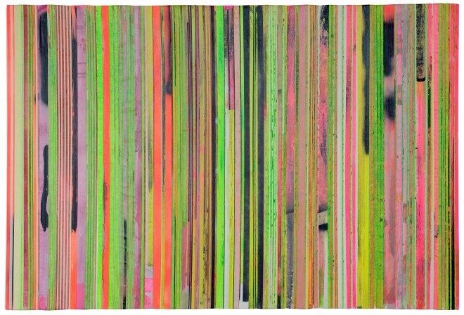 Untitled, 2015, acrilico su nastro carta su tela 101x150 cm.
