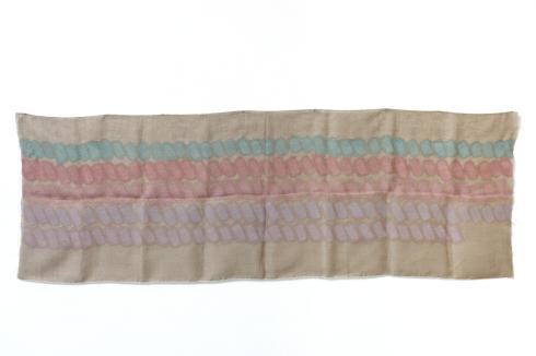 Giorgio Griffa, Segni orizzontali policromo, 1973, acrilico su Juta, cm 100x293