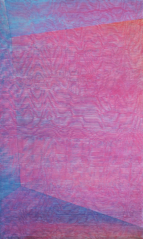 Zero-Om, 2014, olio e alchidico su tela, 60x35 cm.