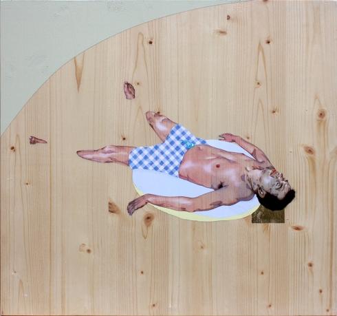 Les bagnantes (deposizione) (2015), olio, acrilico, foglia d'oro e inserto in carta su tavola, 50x50 cm - mail