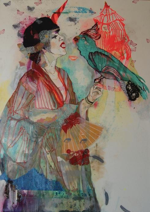 Perroquet, tecnica mista su carta, 2015, cm 160x120