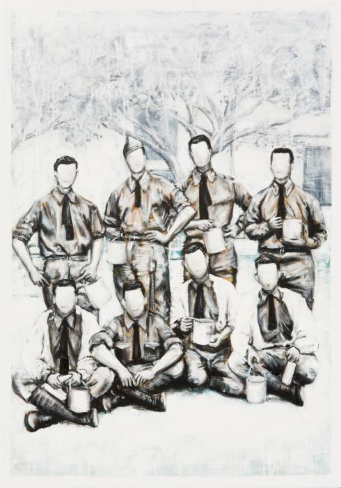 Vincenzo Todaro, (un)memory #026 - soldiers, 2011, olio e acrilico su tela, 100 x 70 cm