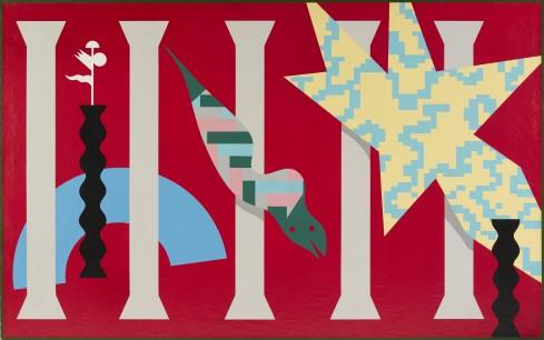 Alessandro Mendini, Senza Titolo, nitro su tela, 195x150 cm, 1996