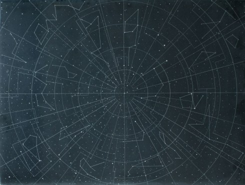 Dario Goldaniga, Mappa Stellare, incisioni su lavagna, 90x120 cm, 2016