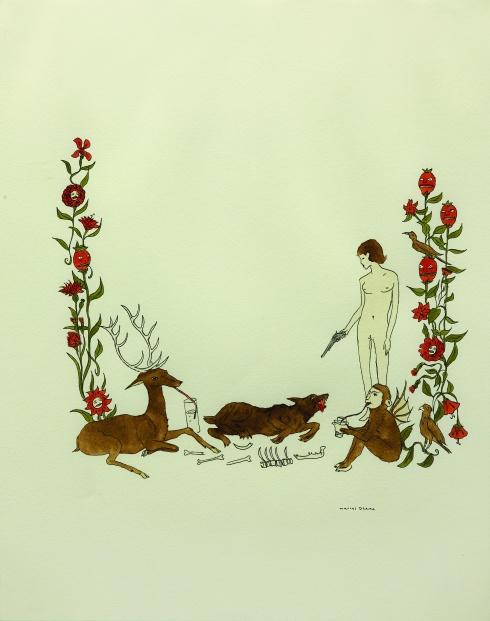 Marcel Dzama, Senza titolo, inchiostro e acquarello su carta, 35,6x27,9 cm, 2000-