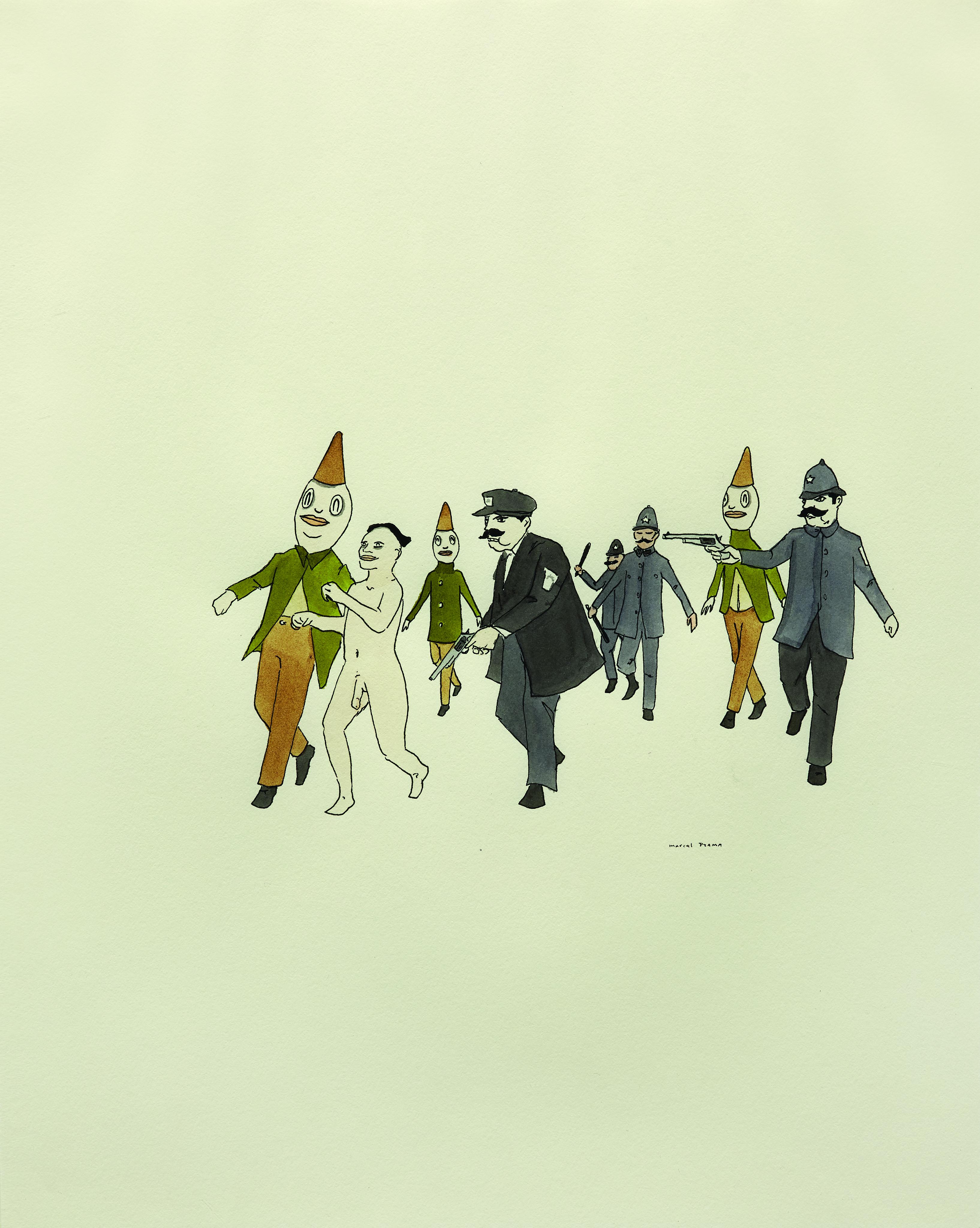 Marcel Dzama, Senza titolo, inchiostro e acquarello su carta, 35,6x27,9 cm, 2003