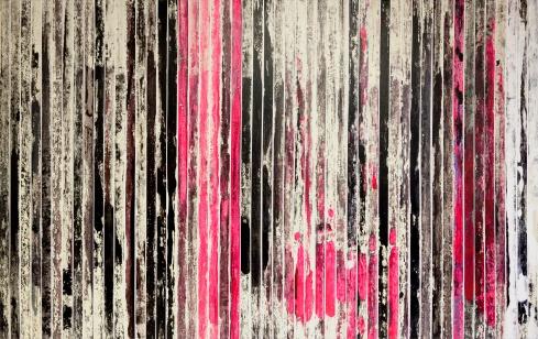 2Paolo Bini, Grande Rosso, 2013, 200x400, 10, Acrilico su nastro carta, by Claudio Farinelli
