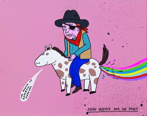 Laurina Paperina, John Wayne and the pony, 2017, smalti all'acqua markers e spray su legno, 20x25 cm