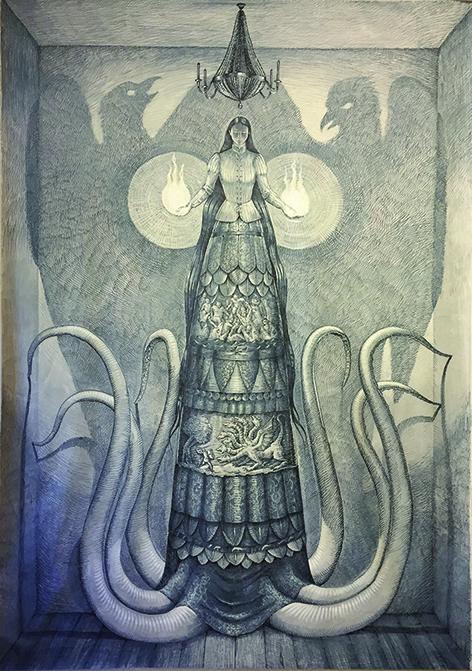 Vanni Cuoghi, Le due verità, 2017, acrilico e marker su tela, 310x210 cm