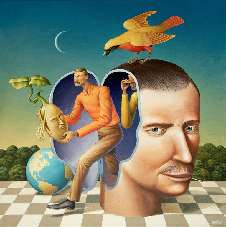 Waone - Vladimir Manzhos, The seed of good ideas, 2017, acrylic on linen, 80x80 cm