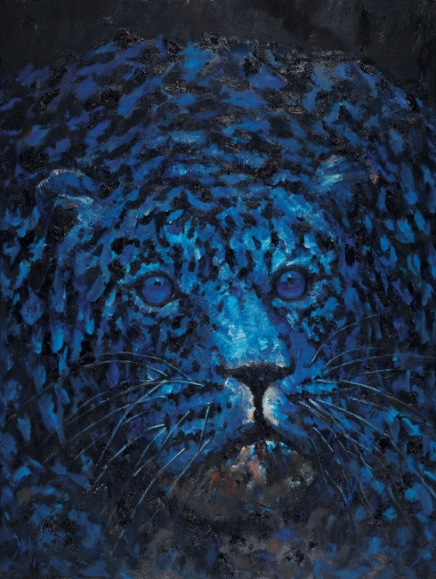 5.One Leopard (blue), 2017, olio su tela _ oil on canvas, cm 200x150