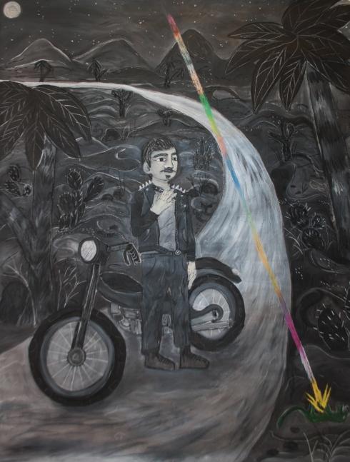 Giorgio e la lucertola del deserto , acrilico fusaggine pastelli gessi su cotone grezzo, 175x135cm , 2017jpg