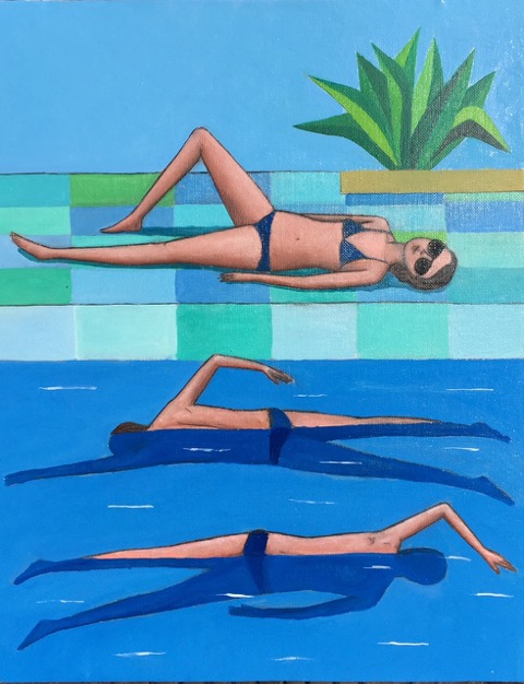 Donna bordo vasca e 2 nuotatori