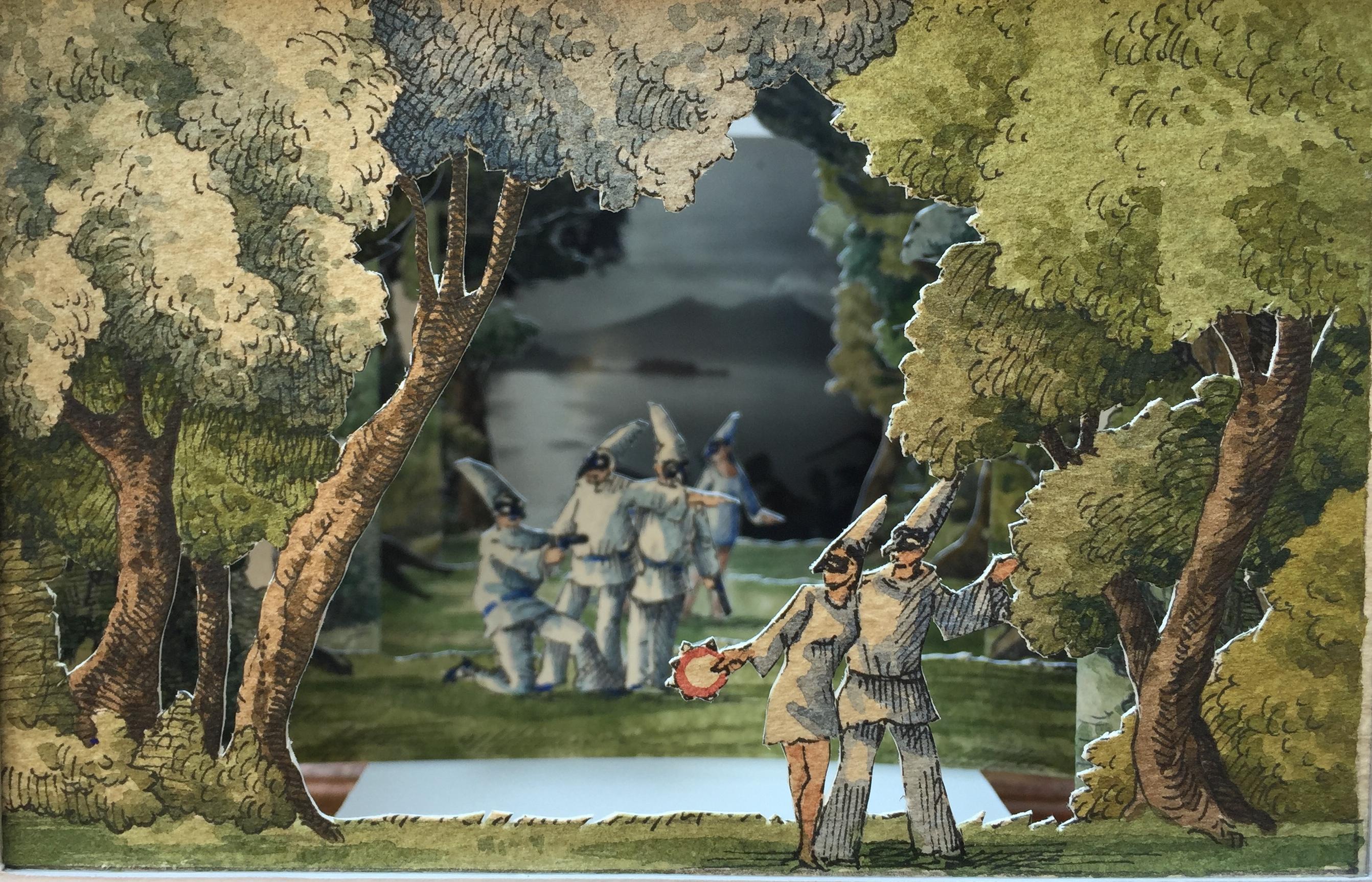 Saluti da Napoli (La famiglia di Pulcinella), 2018, china e acquerello su carta cm21x21x18 copia