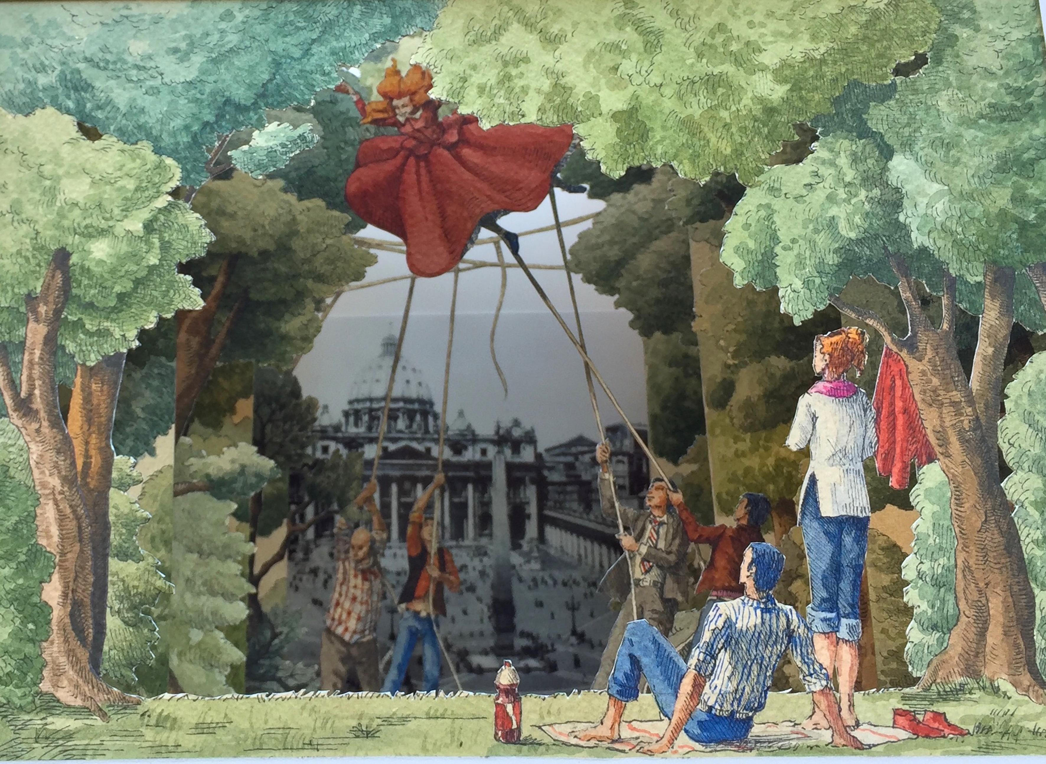 Saluti da Roma (Acqua alle corde), 2018, cm 35x50x30 acquerello, china, su carta