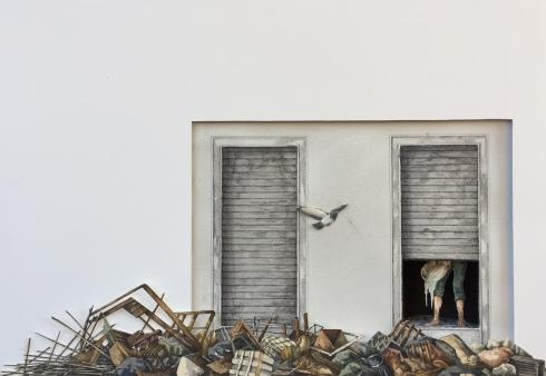 Monolocale 88 ,(Typhoon 14), anno 2019, tecnica mista, cm 35x50