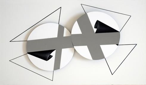 SI 74 cm 35 x 60 2018 Olio e acrilico su dischi di silicio applicati su tavola