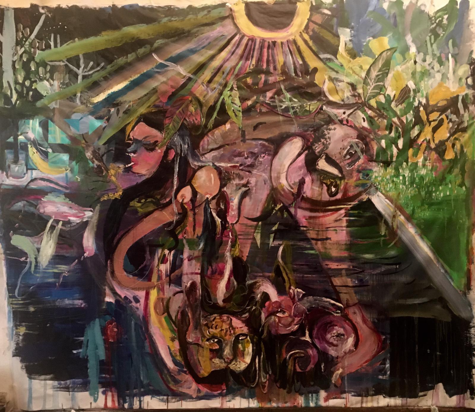 2 - Il senso della lotta, 2019, tecnica mista e collage su tela sciolta, 250x215 cm