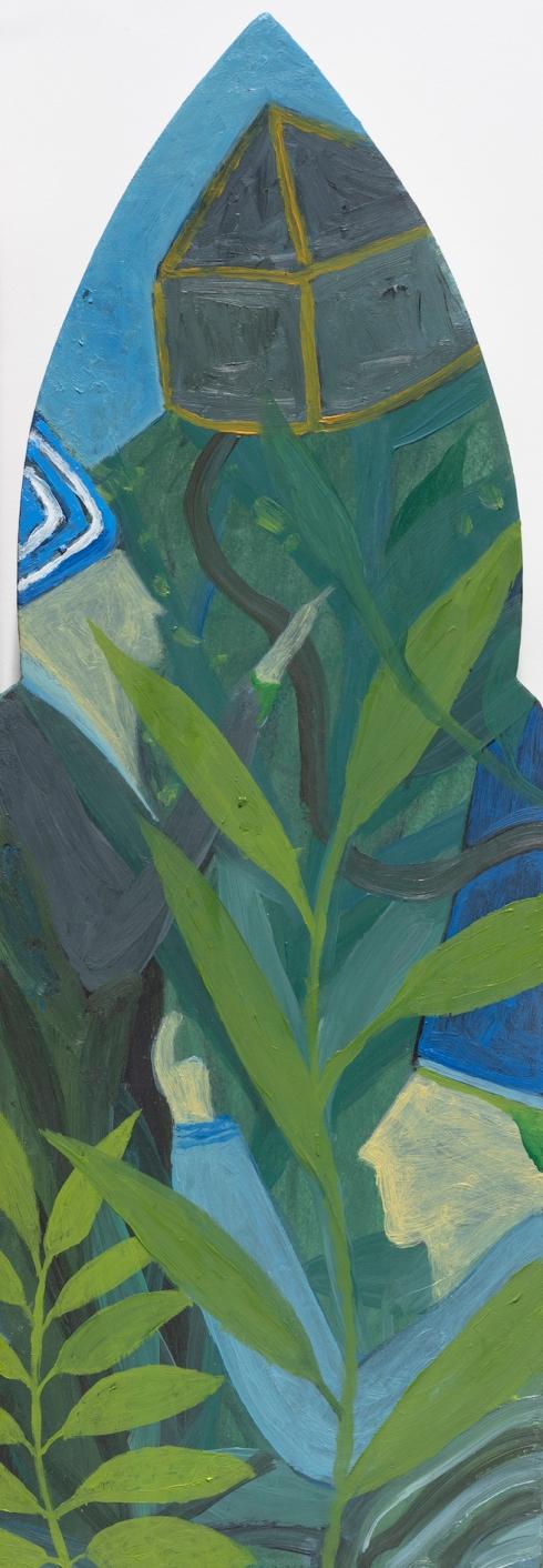 Verso casa il cielo è sereno, 2019 - Olio su tavola di multistrato di pioppo, cm. 19 x 54 - ph. Cosimo Filippini